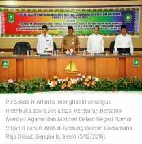 Plt Sekda Buka Sosialisasi Peraturan Bersama Menteri Agama dan Menteri Dalam Negeri Nomor 9 dan 8 Tahun 2006